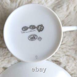 HERMES Tea Cup Saucer Chaine D'ancre Platinum Tableware 2set Ornament New Unused