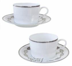 HERMES Tea Cup Saucer Chaine D'ancre Platinum Tableware set Ornament New Unused