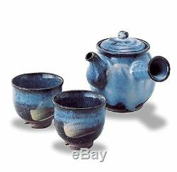 Hagi Yaki Ware Seigan Blue Hagidaruma Teapot & Tea Cups Set Japanese Porcelain