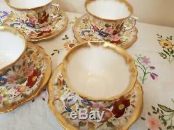 Hammersley QUEEN ANNE 13166 (older) Set of 4 Large Breakfast Tea Cups & Saucers