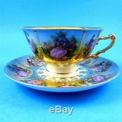 Hand Painted Love Story Fragonard CN Bavaria Beehive Mark Tea Cup and Saucer Set