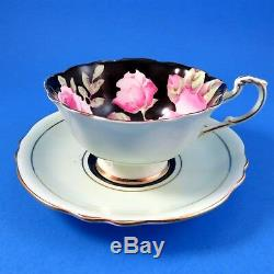 Hand Painted Pink Roses on Black Paragon Tea Cup and Saucer Set