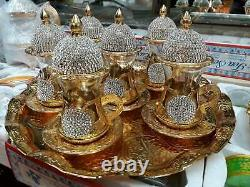 Handmade Turkish Arabic GREEK tea Cup Saucer Set (colored)Cooper Original