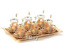 Handmade Turkish TEA Set Swarovski Crystal Coated Glass Cups Tray Gold Colour