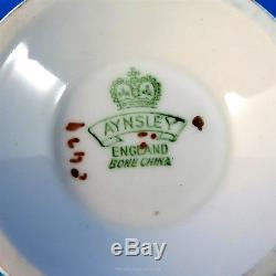 Handpainted Fruit Signed D Jones Blue Aynsley Tea Cup and Saucer Set