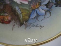 Handpainted Ja Bailey Aynsley Set Cabbage Rose Gold Trio Cup Saucer & Tea Plate