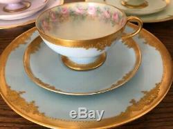Haviland Limoges Tea Set JPL Jean Pouyat Trio Sets Cup Saucer Plate 12 Pieces