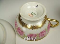 Haviland Mckinley President Drop Rose Footed Tea Cup & Saucer Set #2
