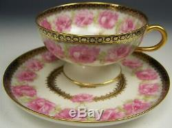 Haviland Mckinley President Drop Rose Footed Tea Cup & Saucer Set #3
