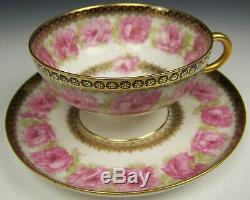 Haviland Mckinley President Drop Rose Footed Tea Cup & Saucer Set #4