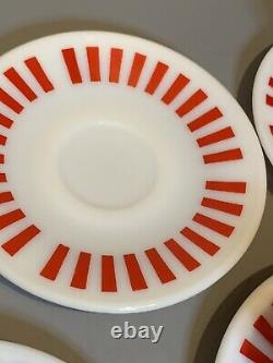 Hazel Atlas Red White Milk Glass Candy Stripe Coffee Tea Cup and Saucer Set of 5