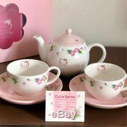Hello Kitty Teapot Teacup Saucer Set Cutie Series Kanesho Pottery Sanrio 2001 JP