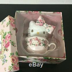 Hello Kitty meets LAURA ASHLEY Tea Cup set and Mascot Plush Doll Sanrio Rare New