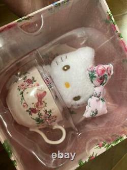 Hello Kitty meets LAURA ASHLEY Tea cup set & Mascot Plush Doll Sanrio Anime RARE