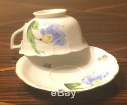 Herend Large Tea Cups & Saucers 733 Kitty Pattern Set of 2 MINT