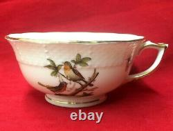 Herend Porcelain Set of 6 Rothschild Bird Teacup 2 Cups Butterflies Insects 734