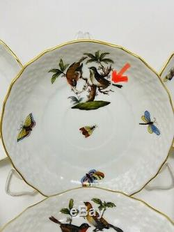 Herend Rothschild Bird Tea Cup And Saucer Set For 6 #1726/ROMINT CONDITION