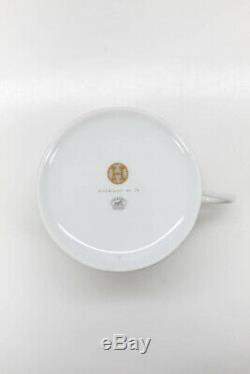 Hermes Mosaique au 24 Set of 2 Teacups Porcelain White Gold-Tone Painted