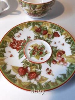 Hermes Porcelain Pythagore Tea Cup Saucer Tableware 2 set Green Red Ornament New