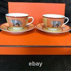 Hermes Porcelain Tea Cup Saucer Africa Orange Tableware 2 set Ornament Auth New