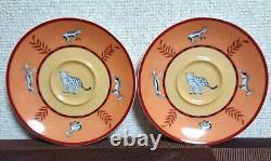 Hermes Porcelain Tea Cup Saucer Africa Orange Tableware set Animal Ornament New