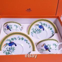 Hermes Porcelain Tea Cup Saucer set Toucans Tableware Dish Plate Bird Ornament