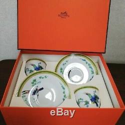Hermes TOUCANS BIRDS Porcelain Toucans Tea Cup Saucer In Box Set Of 2