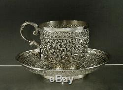 Indian Silver Tea Set Cup & Saucer c1890 Signed