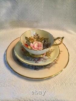 J A Bailey Signed Aynsley Bone China Cabbage Rose 3 pc. Set teacup saucer + salad