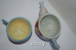 Jim Shore Disney Alice In Wonderland Planter Set Excellent Rare Tea Pot Cup