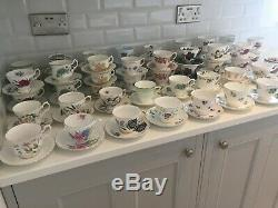 Job Lot 52 Vintage China Tea Cups & Saucers Large 104-Piece Mismatch Tea Set