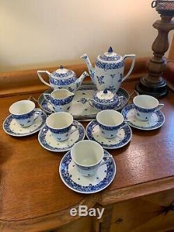 Koninklijke Porceleyne Fles Delft Blue Flow Ware Tea Set & Tray 5 Cups 2 Teapots