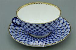 LFZ Lomonosov Imperial Porcelain Cobalt Net Tea Set 6 Cup / Saucer Box Russia