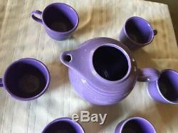 LILAC Fiestaware, Teapot (no lid) and 6 Tea Cups Set Fiesta, purple SHIPS FREE