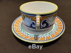 L'Antica Deruta Ghirlanda Italian Pottery Tea Cup & Saucers Set of4 Blue Orange
