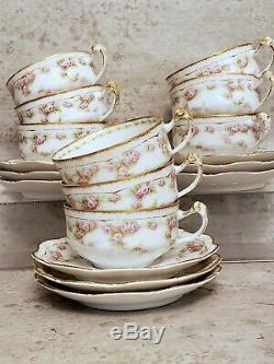 Lanternier Limoges Pink Rose Garlands Double Gold Tea Cup & Saucers 1890s 9 sets