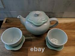 Le creuset flower tea pot teacup saucer set with stoneware filter icy green