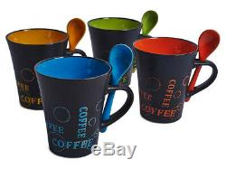 Livivo 4 X Coffee Mug W Spoon Tea Set Drink Latte Cups Ceramic Kitchen Espresso