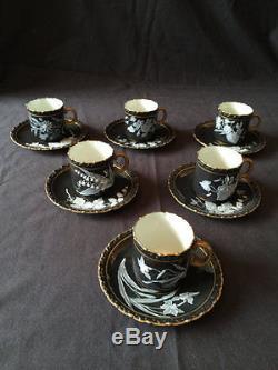 Locke Worcester pate sur pate Tea service Set coffee, Pot 6 Tea cup saucers