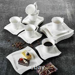MALACASA Amparo Square White Porcelain Dinner Set Tea Cups Saucers Service Plate