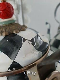 Mackenzie Childs Courtly Check 3 Quart Tea Kettle Travel Cup Utensil Holder Set