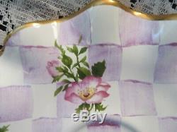 Mackenzie Childs Honeymoon Farm Pink Roses Tea Cup & Ruffled Saucer Set Retired