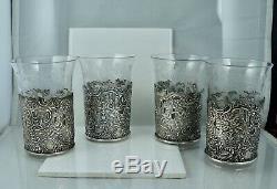 Mauser Antique Sterling Renaissance Repousse Etched Crystal Tea Glass Cup Set