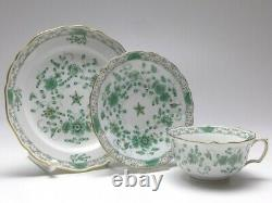 Meissen Indian Green Full Set of 5 Tea cups, Saucer and Plates. 1st Quality