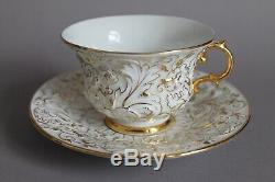 Meissen Prunk Gildes Embossed Floral Decor Large Coffee Tea Cup & Saucer Set