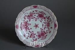 Meissen Purple Indian Pink Flowers Tea Cup & Saucer Set 2nd Crossed Swords