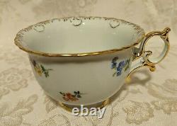 Meissen Set of 3-Tea Cup/Saucer/Dessert Plate Set Scattered Flowers X Backstamp