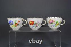 Meissen Teeservice Blumen flowers tea service set cup pot plate 1. W