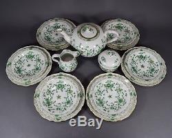 Meissen Teeservice indisch grün reich Gold Tea set service cup pot Blumen