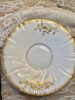 Mint Limoges Elite France Tea Cup Saucer Set Raised Gold HP Rose Stunning